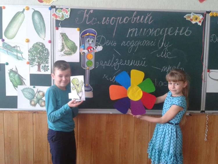 Учні пригадували кольори біля дошки
