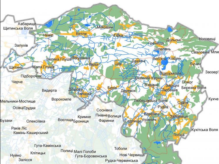 Карта Любешівського району
