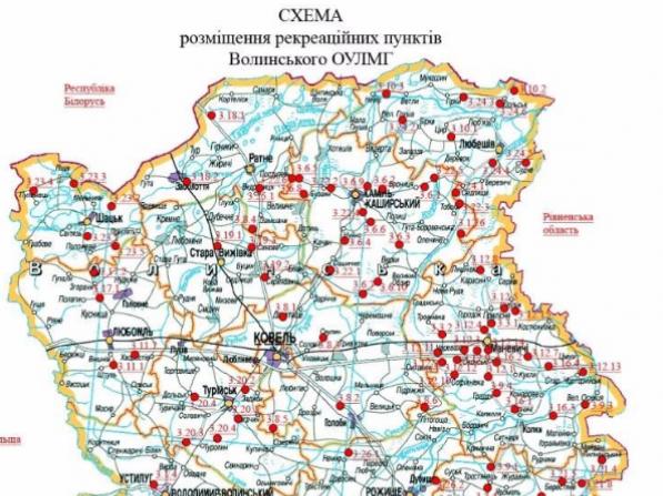 Мапа рекреаційних пунктів