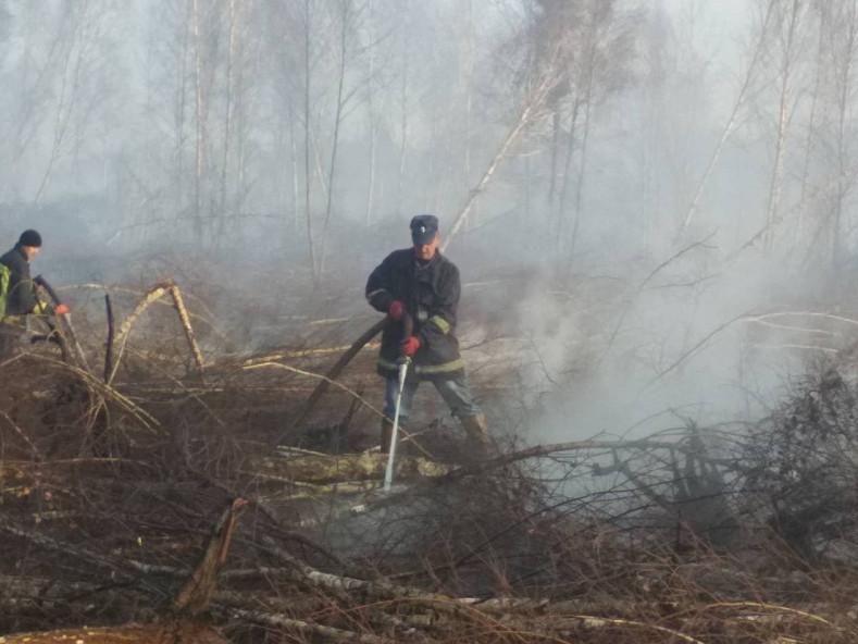 Пожежники гасять торфовище быля Вола