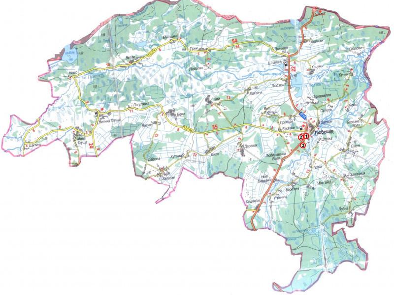 Мапа Любешівщини
