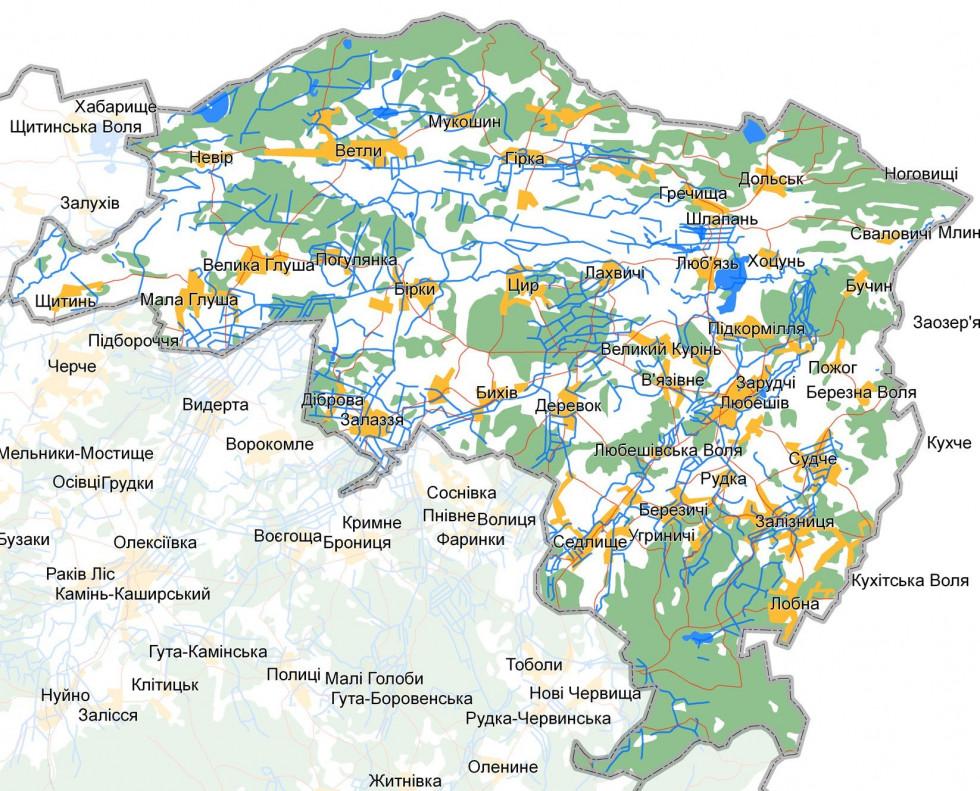 Карта Любешівщини